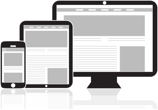 Illustration depicting a responsive website on a cell phone, tablet, and desktop monitor.