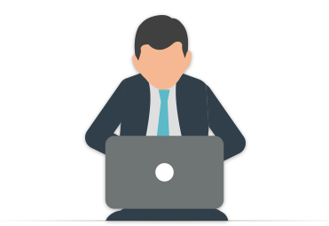 Illustration of a businessman working on his marketing budget on a laptop