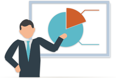 Illustration of a businessman presenting a pie chart of a marketing budget