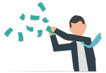 Illustration of a businessman excitedly throwing money